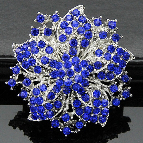 Hot Selling Elegant Blue Crystal Flower Wedding Bridal Dress Pin Brooches Special Jewelry Gift For Women