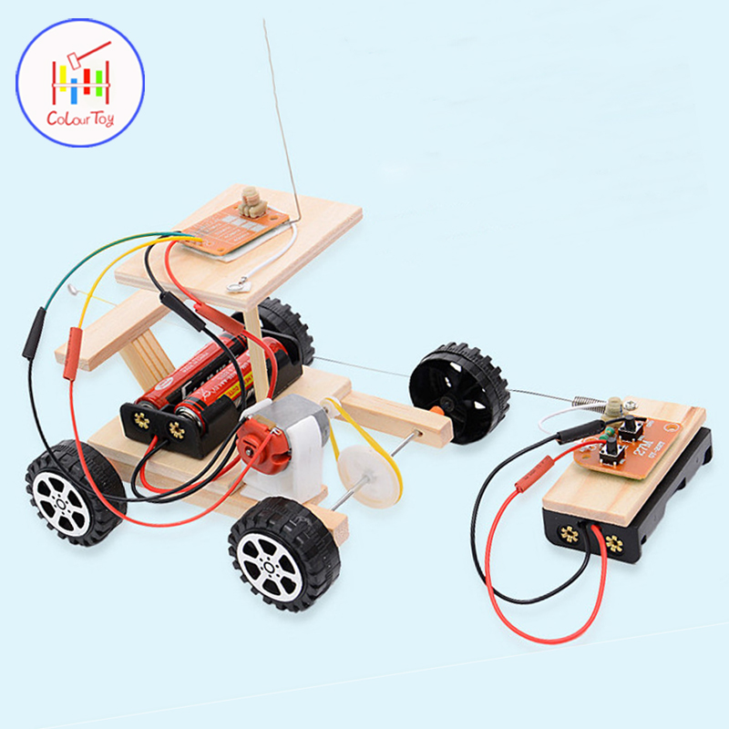 DIY Kids Mini Motor Smart Power Wireless Remote Control Racing Car Model Kit Science Experiments Toy Set Educational 3Y+
