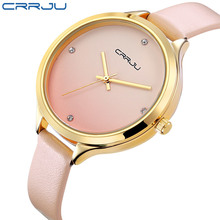 CRRJU Top Luxury Brand High Quality Fashion Casual Simple Style Leather Strap Quartz Wristwatch Waterproof Women Watch relogio