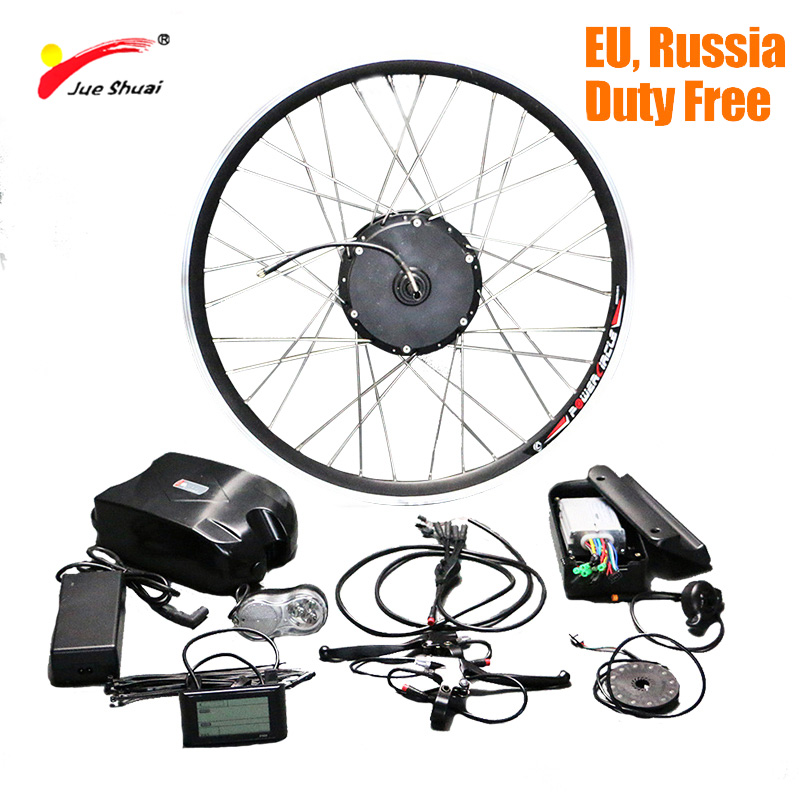 Jueshuai Folding <font><b>Electric</b></font> <font><b>Bike</b></font> Conversion Kit mit Lithium-Batterie Vorne Fahrrad Elektrische Rad Motor 48V 350W Ebike <font><b>e</b></font> -<font><b>bike</b></font> Kit image