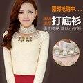 Grande tamanho 3XL estilo Chinês retro-alta gola de veludo rendas assentamento blusa bordada gola longa-camisa de mangas compridas mulheres