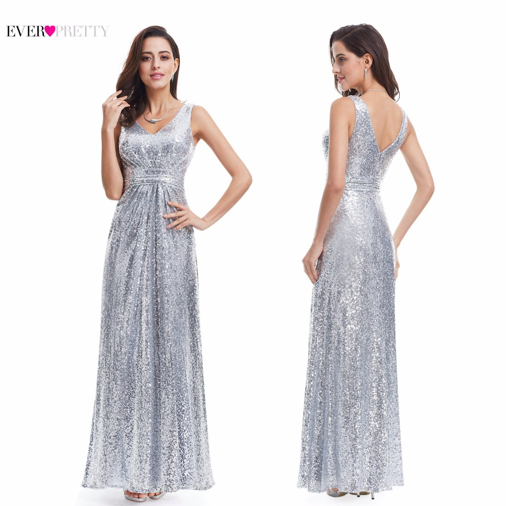 Long Silver Evening Dresses Sparkle Ever Pretty Women 2017