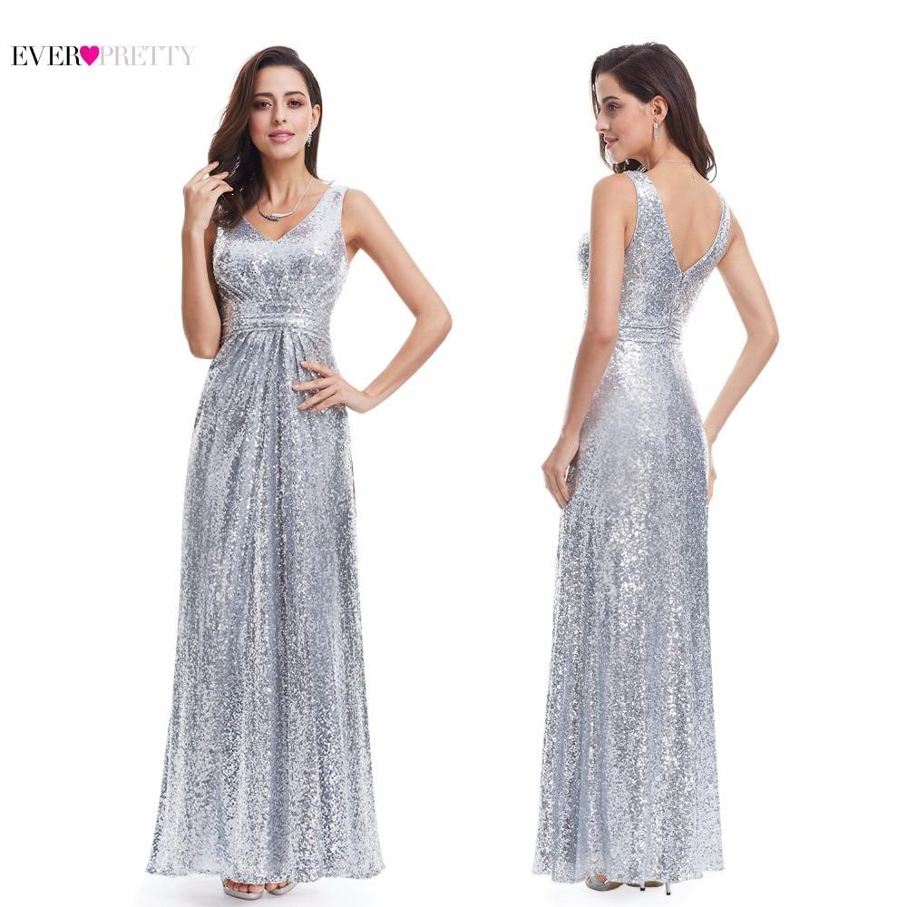 Long Silver Evening Dresses Sparkle Ever Pretty Women 2017 ...