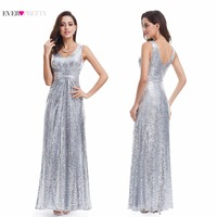 Long Silver Evening Dresses Sparkle Ever Pretty Women 2017 VS68070PEC Luxury Sleeveless V Neck Elegant Sequin