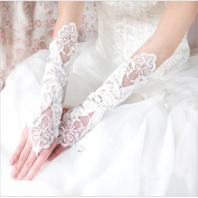 Crescendos bordados luvas projeto do laço branco de noiva luvas longas luvas obter casados lucy refere-se a acessórios do casamento