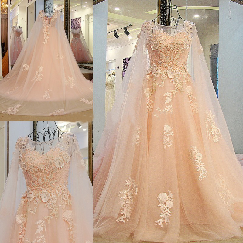 New Arrival With Cape A-Line Evening Dresses Long 2017 Scoop Neck Appliques Beaded Backless Formal Prom Dress Abendkleider 2017
