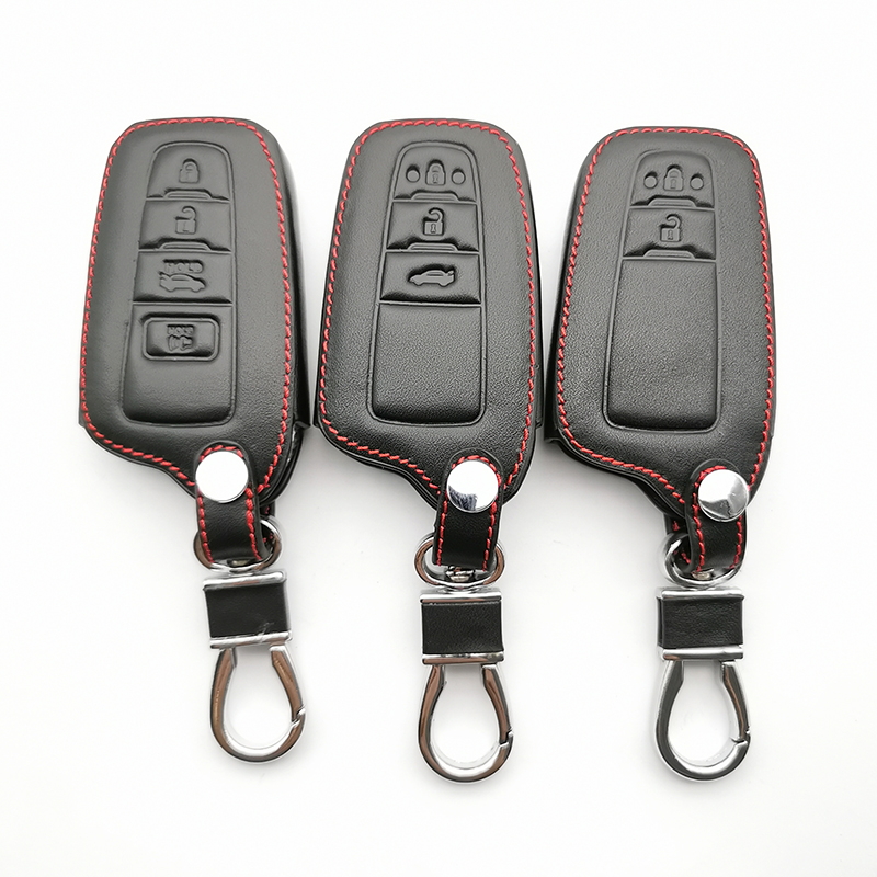 Кожаный чехол для ключа для Toyota Camry ключ для Toyota Camry, Avalon, Corolla RAV4 CHR Land Cruiser Prado Prius 2017 2018 2019 Fob дистанционное управление 2/3/4 кнопок