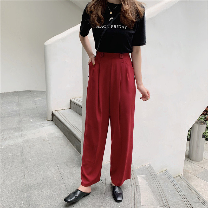 HziriP Korea   Wide     Leg     Pants   Office Lady Solid 2019 Summer Casual OL Style Fashion High Waist Button Fly Loose Solid Women   Pants