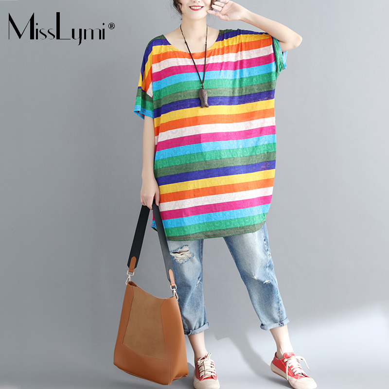 MissLymi XXL-5XL Plus Size Women Letter Rainbow Striped T shirt 2018 Summer Casual Loose O-neck Short Sleeve Long Top Female Bts