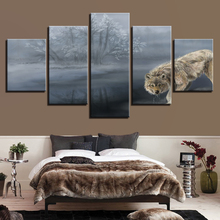 Canvas Painting Wall Art HD Printing 5 Pieces Animal Wolf And Tree Landscape Pictures Framework Modular Poster Decor Living Room
