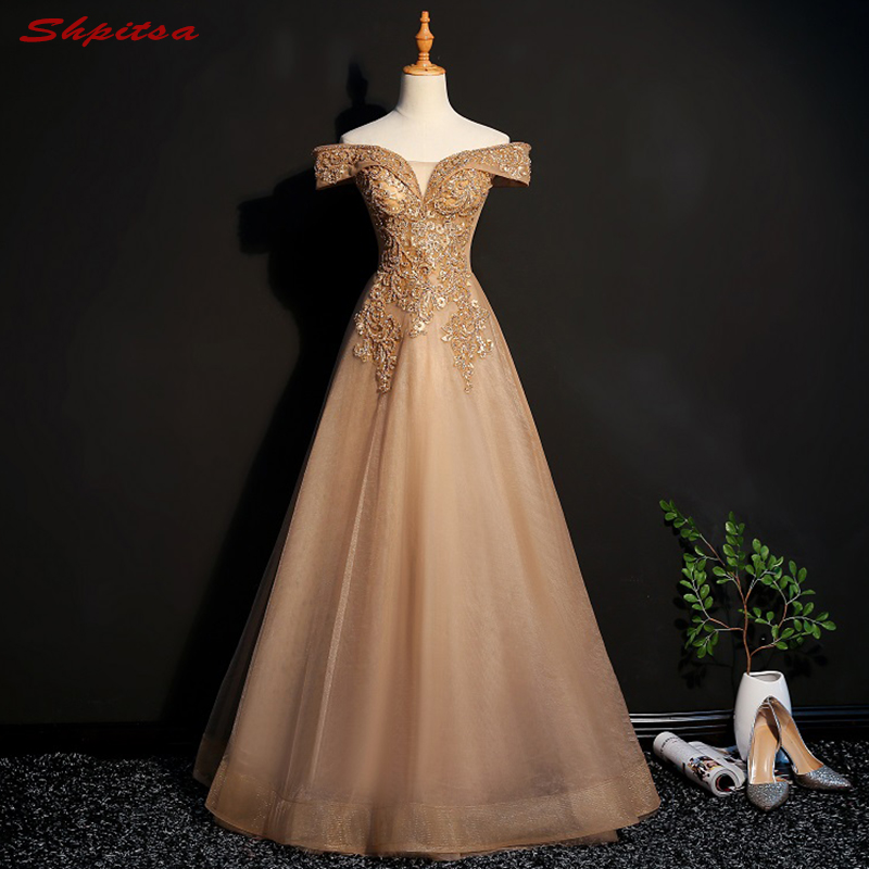 Champagne Long   Evening     Dresses   Party Women Prom   Dress   Crystal Beaded Formal   Evening   Gowns   Dresses   on Sale vestido de festa