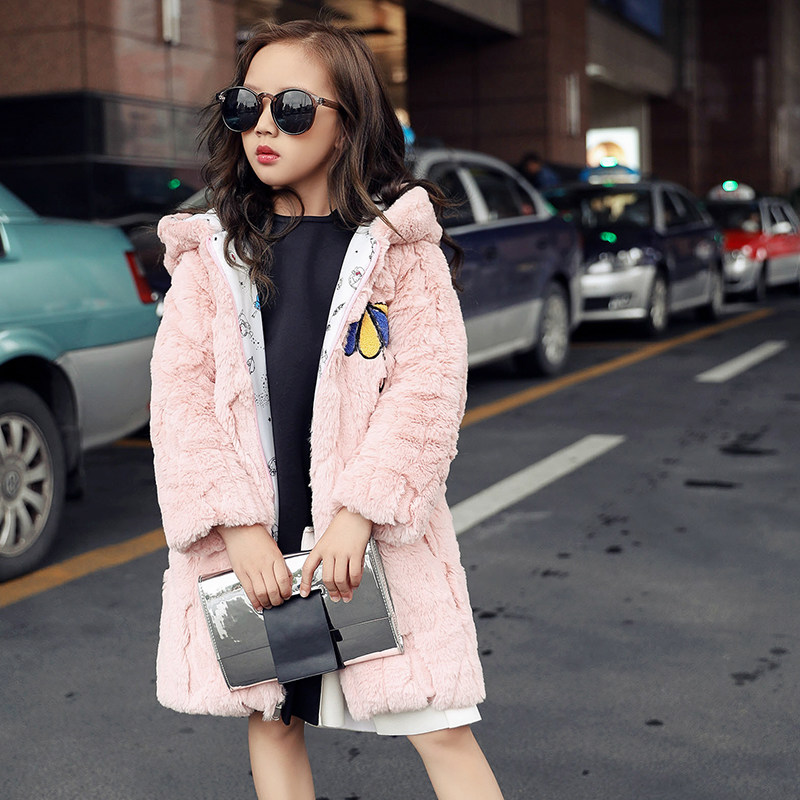 2018 Girls Faux Fur Coat Winter Long Sleeve Hooded Warm Jacket Imitation Rabbit Fur Long Coat For Kids 3-14 Year Soft Outwear children jacket print flower thick warm faux fur coat kids pretty winter hooded button long jacket for girls autumn girls coat