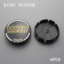 KOM 4PCS 55.5/clip 51.5mm car wheel centre cap rim center hub emblem covers hood for rays volk sticker ABS plastic 5JA6011A