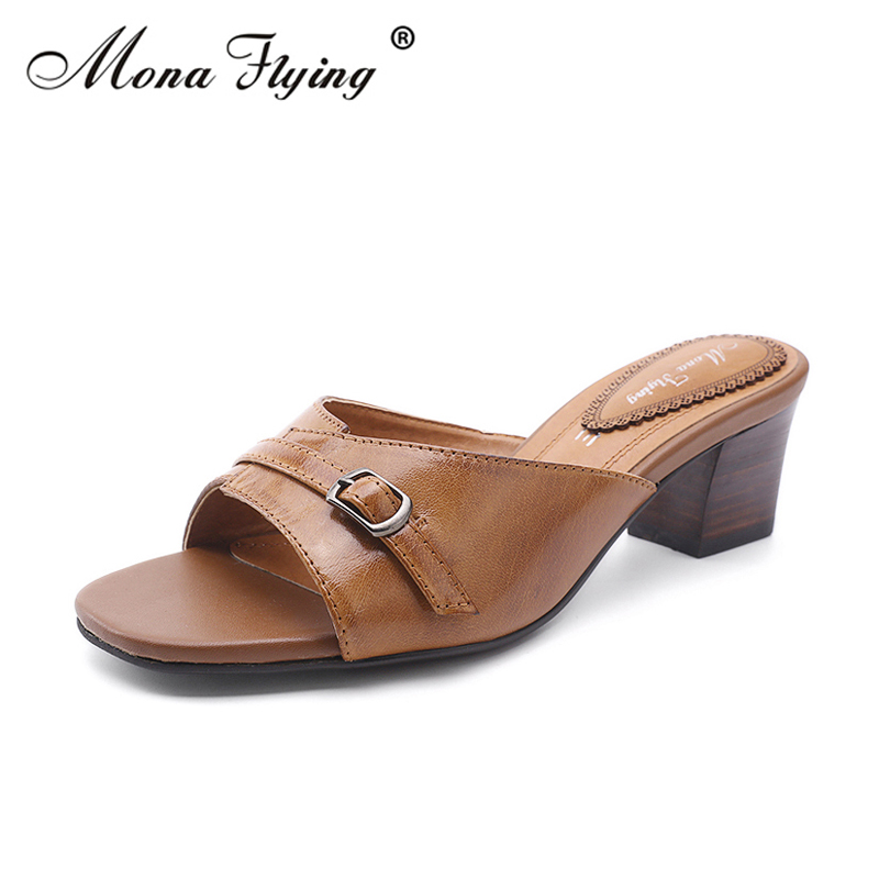 Women Slides Shoes 2018 New Brand Genuine Leather Women High Heels Slippers for Women Handmade Leather Slippers Shoes 319-24