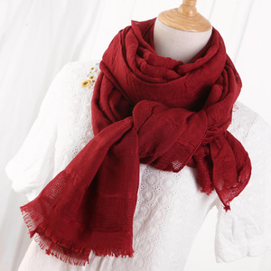 Image 3 - Solid Color Scarf Cotton Linen Ethic Hollow Cut Scarf Fringes Large Wraps Stoles Muslim Hijabs Scarves Islam Wrap Hijab