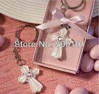 26pcs Lot Fashion Party Wedding Crystal Communion Favors Cross Key Chain Keychain Pink Blessing Time