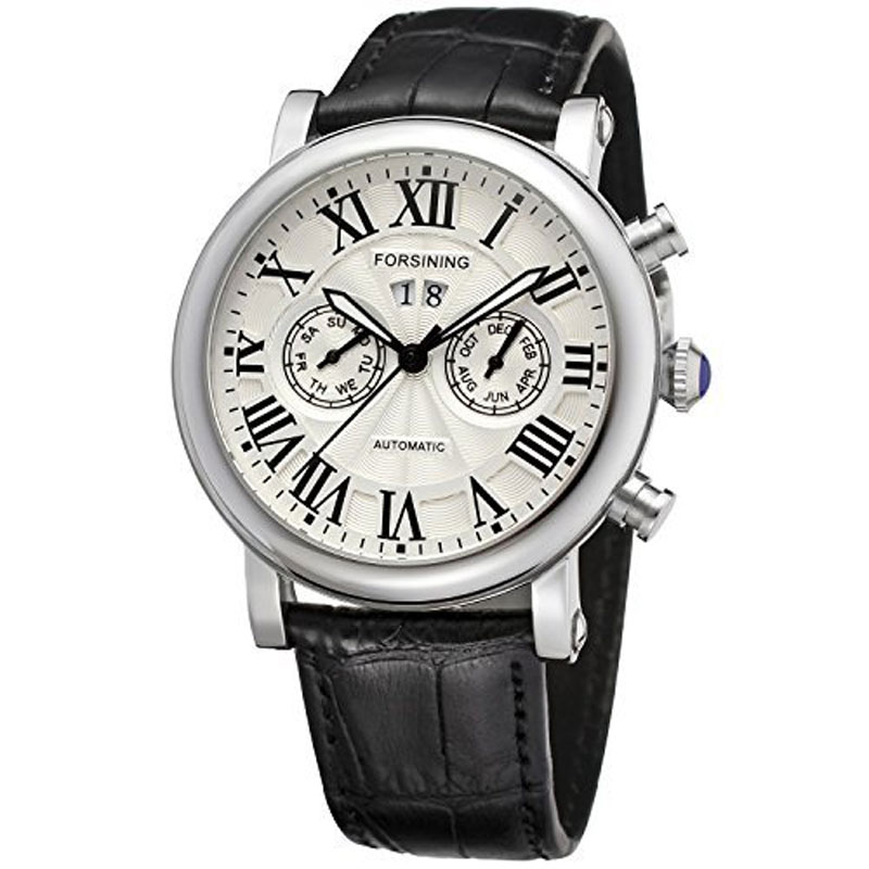 ФОТО High Quality Mechanical Men Watch Women Leather Band Multifunction Dials Men's Watches for  Male Clock W18170