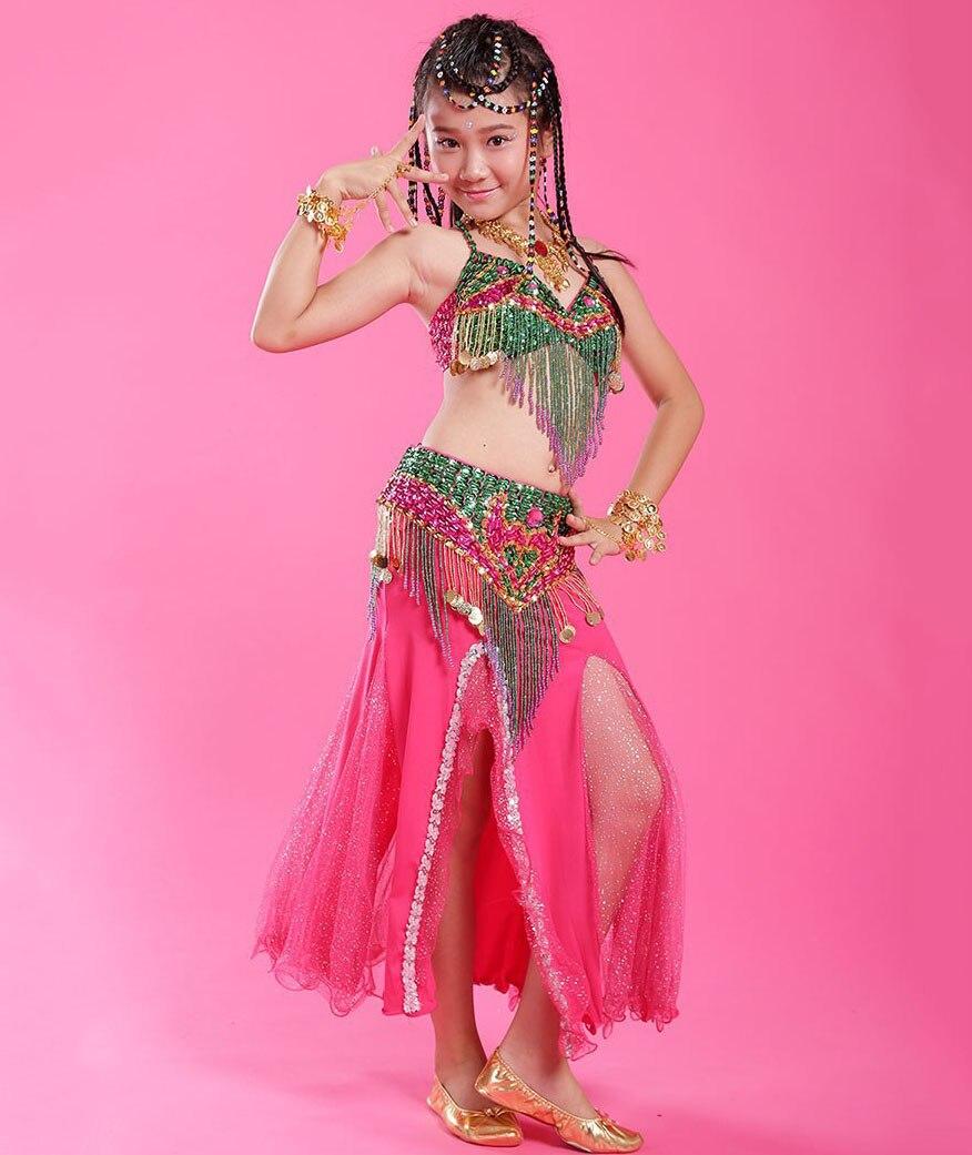 2016 haute qualité Sexy S/M/L 3 pièces danse du ventre Performance Costume soutien-gorge ceinture et jupe pour les enfants en vente