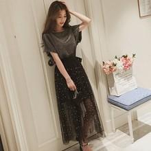 Womens Two-piece Set Korean starry skirt 2019 summer mesh half-length long skirts Sweet Short Sleeve Long t-Shirt + Mesh Skirt