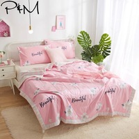 2019 White Flowers Pink Quilt Cotton air condition Quilted Thin Comforter Summer Throws Blanket Twin Full Queen Size