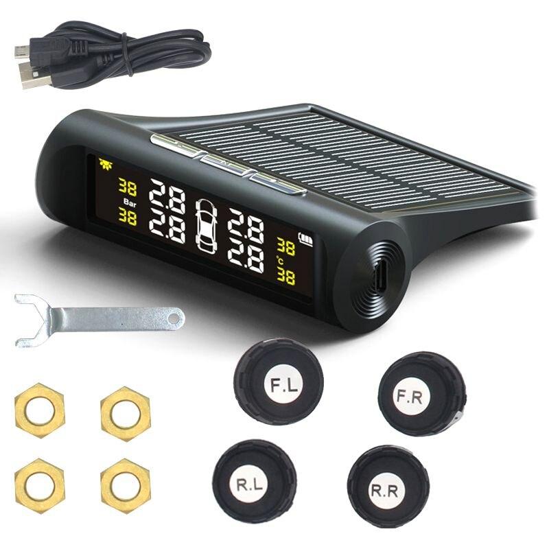 Sistema de monitoramento da pressão dos pneus tpms do carro inteligente carregamento energia solar digital display lcd sistemas alarme segurança automática