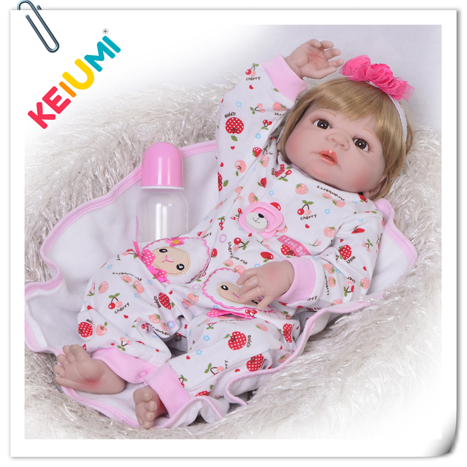 57 cm Hot Sale Kids Newborn Dolls Realistic Reborn Baby Lifelike Doll Reborn Full Silicone Vinyl Body For Menina Birthday Gifts цены