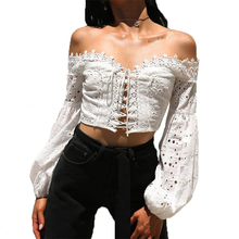 Women Off Shoulder Lantern Sleeve Hollow Out Lace Loose Cross Strap Crop Tops T-Shirt Female Girls Solid Fashion