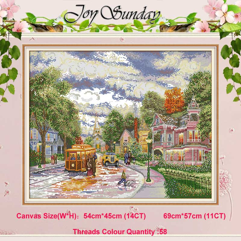 Town evening painting counted 11CT 14CT scenery Cross Stitch Set DIY DMC Cross-stitch Kit Embroidery Needlework Home DecorTown evening painting counted 11CT 14CT scenery Cross Stitch Set DIY DMC Cross-stitch Kit Embroidery Needlework Home Decor