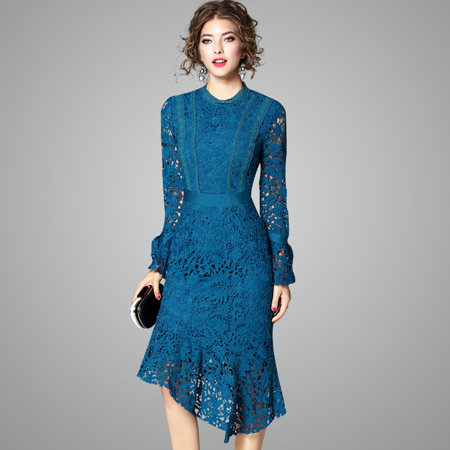 68a29c6f0db7 OYCP women crochet hollow out lace blue irregular dress ladies autumn  winter full sleeve blue lace
