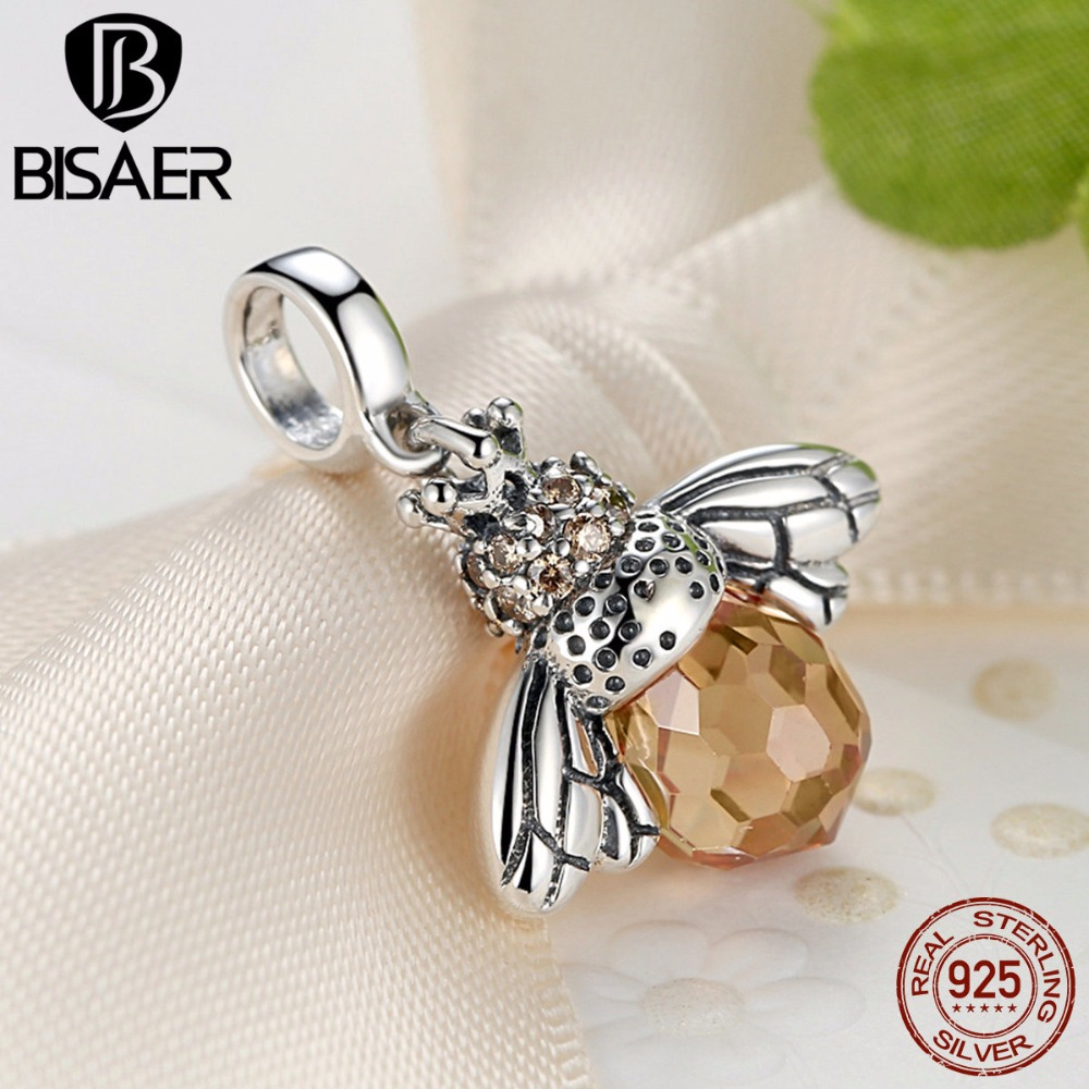 Classic Hotsale New 925 Sterling Silver Orange Dancing Bee Pendants Fit BISAER Bracelet Necklace for Women Wedding Accessories
