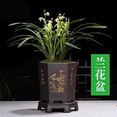 Fine Purple Sand Flower Pot Chinese style Black Hexagonal Orchid Pots Indoor Table Flower Potted ZiSha Ceramic Pots Flower Pots & Planters     -