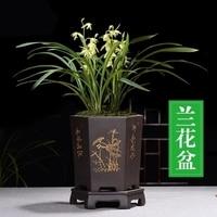 Fine Purple Sand Flower Pot Chinese style Black Hexagonal Orchid Pots Indoor Table Flower Potted ZiSha Ceramic Pots