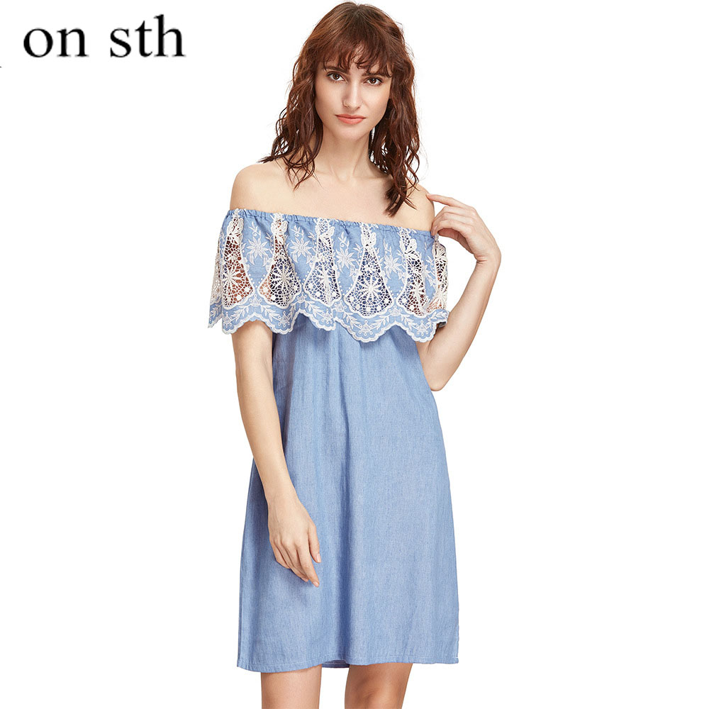 Summer Dess for Woman 2018 New Arrivals Lace Dress Sexy Woman Sweet Patchwork Empire Waist Slash Neck Knee Length Howllow Out