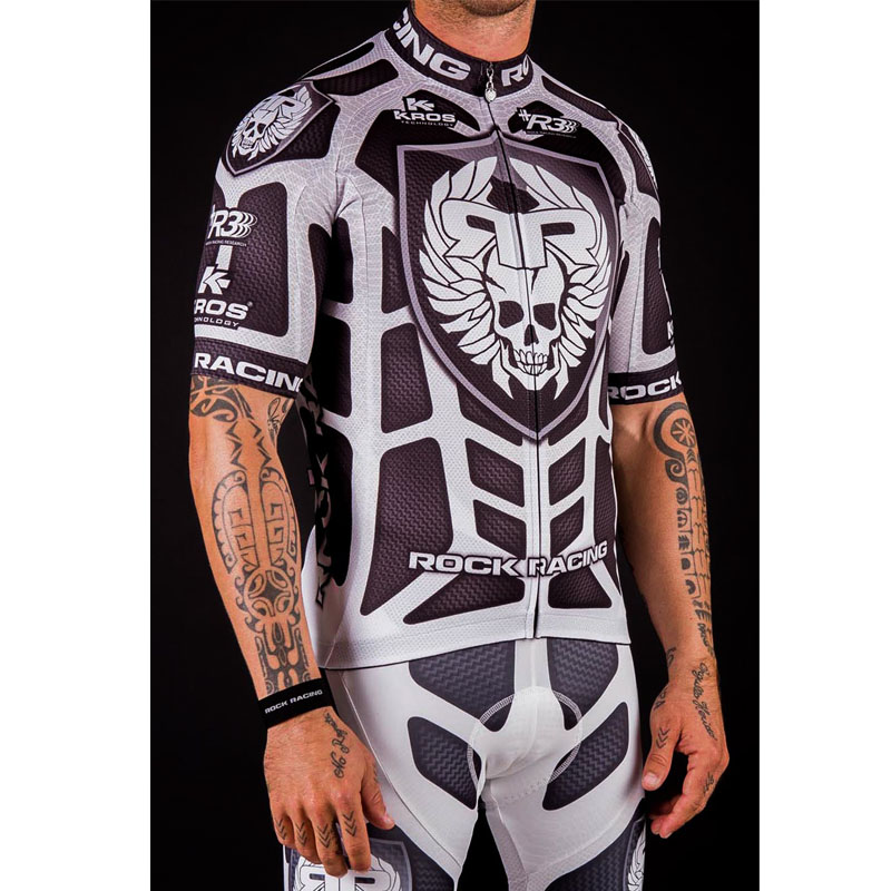 2017 Black/White Rock Racing Sport Jerseys Sets Pro Short Sleeve Bicicleta Cycling Clothing Breathable Bike Jersey Ropa Ciclismo