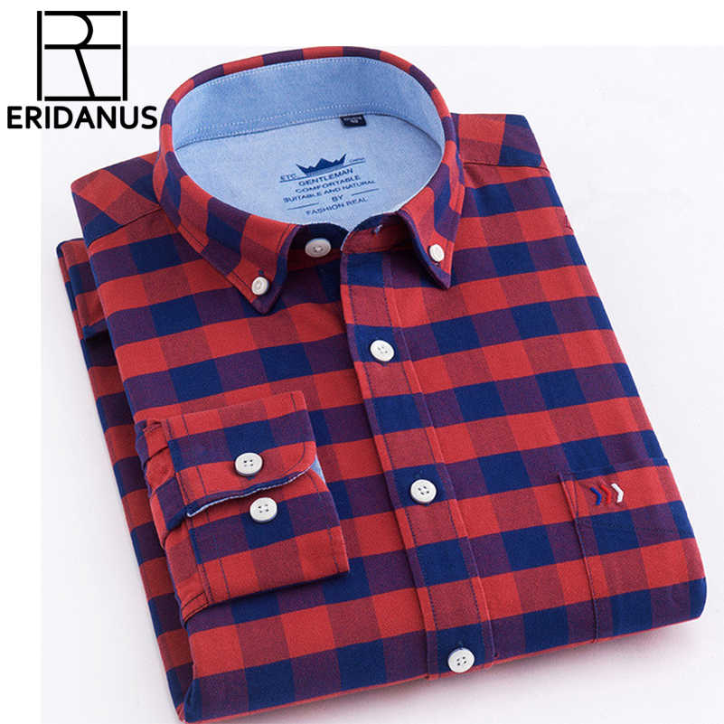 6447a9beee 2018 New Brand Shirs Men Plaid 100% Cotton Shirt Warm Fashion Male ...