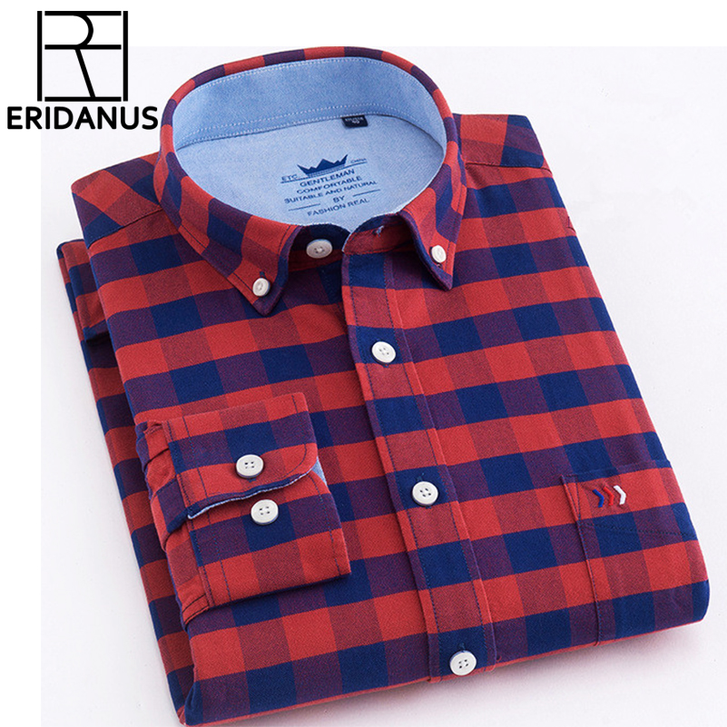 2018 New Brand Shirs Men Plaid 100% Cotton Shirt Warm Fashion Male Long Sleeve Casual Shirt Men Young Dress Shirts Plus 4XL X621