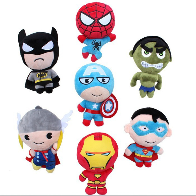 7 Avenger Alliance Q version of Superman US captain Spider-Man Raytheon Iron Man character grab machine doll baby plush toys