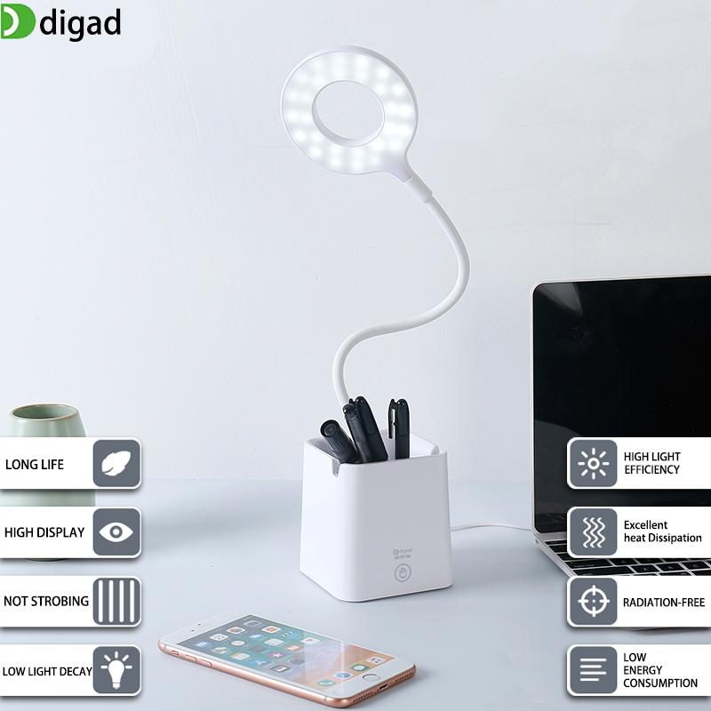 Digad 3 Color Desk Lamp USB Led Table Lamp 28 LED Table Lamp with Clip Bed Reading Book Light LED Desk Lamp Table Touch 5 Modes