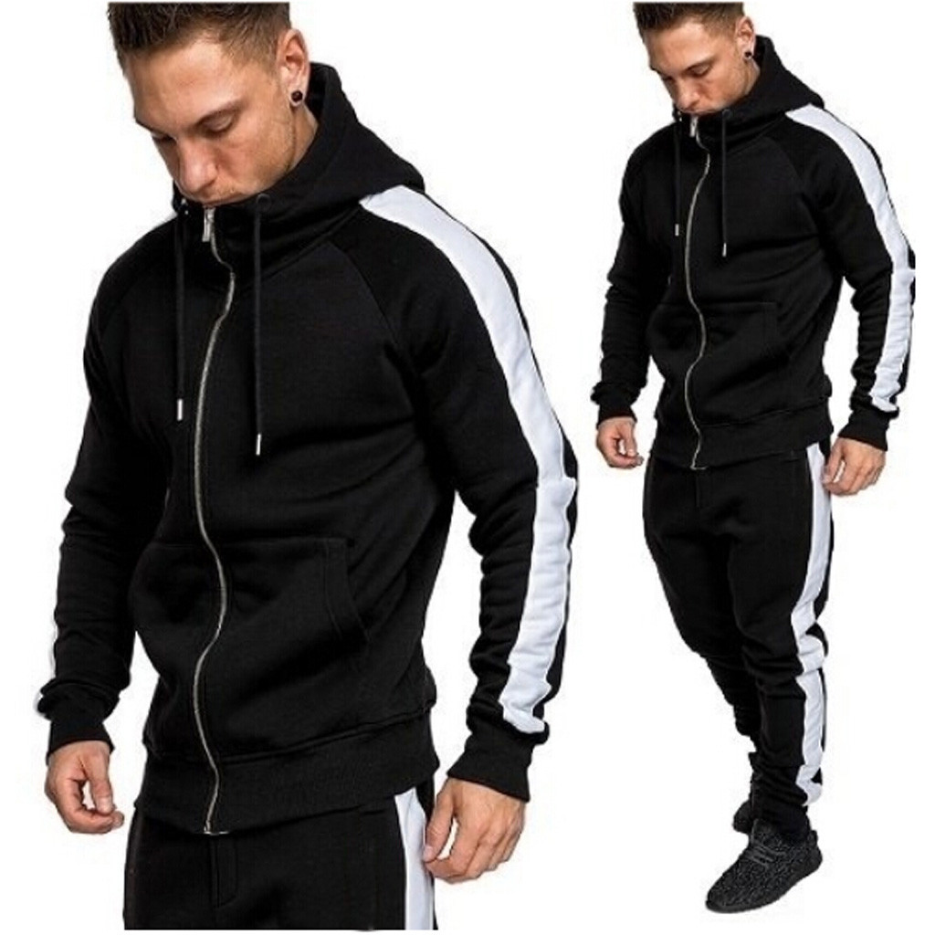 2019 New Men Tracksuit Autumn Winter Active Suit Set Outwear Hooded Hoodies And Long Pants Jan17