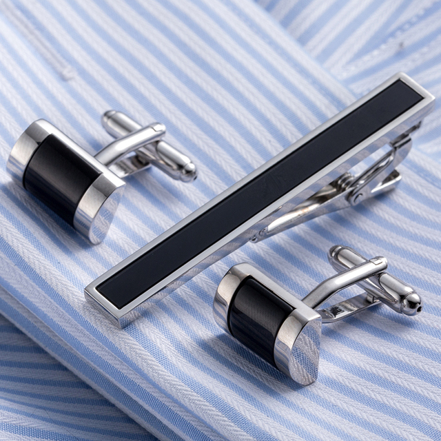 Luxury VAGULA Tie Clip Cufflinks Set Top Quality Tie Pin Cuff links Set Wholesale Tie Bar Link Set 53