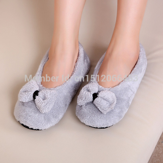 ToLaiToe 2017 Hot Selling Lovely Big BowKnot Keep Warm Soft Sole Women Indoor Floor Slippers/Shoes Bow Tie Flannel Home Slippers
