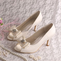 Wedopus Custom Handmade British Spring Bow Shoes Women Wedding Ivory Satin 8CM