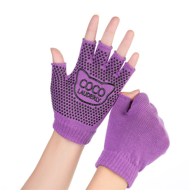 Kitten Print Cotton Yoga Gloves