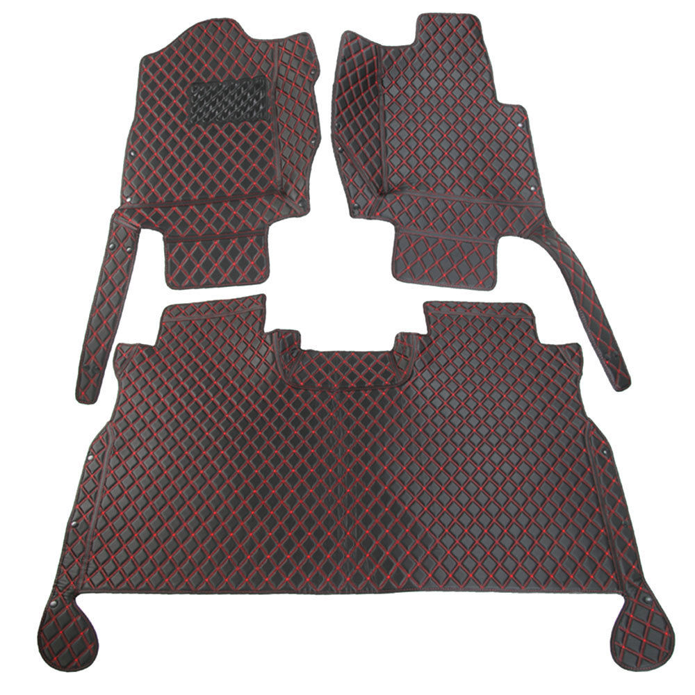 BBQ @ FUKA pour Ford F150 2015 + accessoires intérieur cuir tapis couverture doré/rouge couture antidérapant voiture tapis de sol