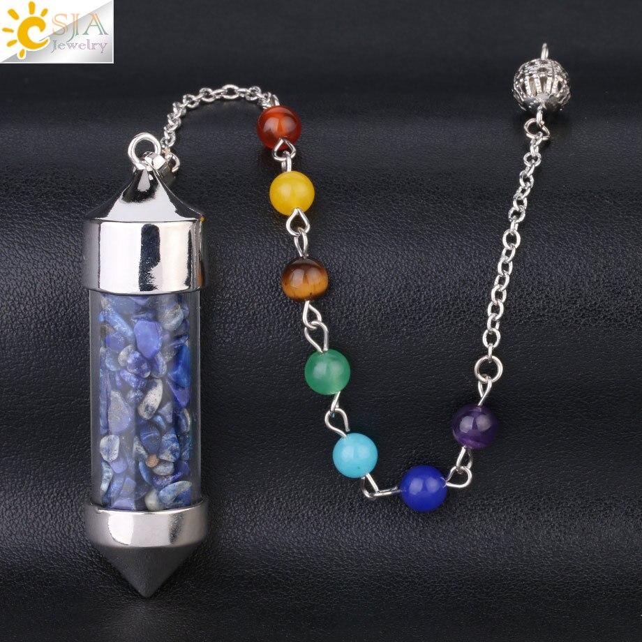 CSJA Новое поступление 7 Чакра Желая бутылка маятник рейки натуральный чип камень кулон ожерелье для женщин мужчин гадания амулет F976 - Окраска металла: Lapis Lazuli