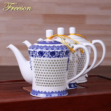 Traditional Chinese Hive Blue White Porcelain Tea Pot 660ml Ancient China Ceramic Teapot Puer Kongfu Tea Set Teatime Samovar(China)
