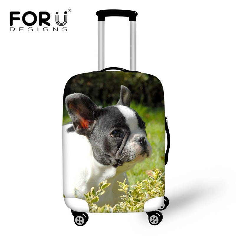 FORUDESIGNS Travel Accessories Lovely French Bull Dog Printing Luggage Protective Covers ...