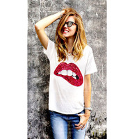 Hot Sale 2017 T Shirts For Women Summer Short Sleeve Sequin Red Green Lips Tshirt Loose