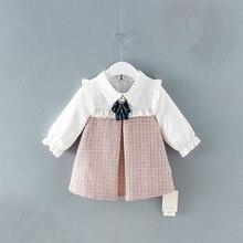 Милое Платье для новорожденных и маленьких девочек детское платье трапециевидной формы с рукавами фонариками одежда в клетку От 0 до 2 лет