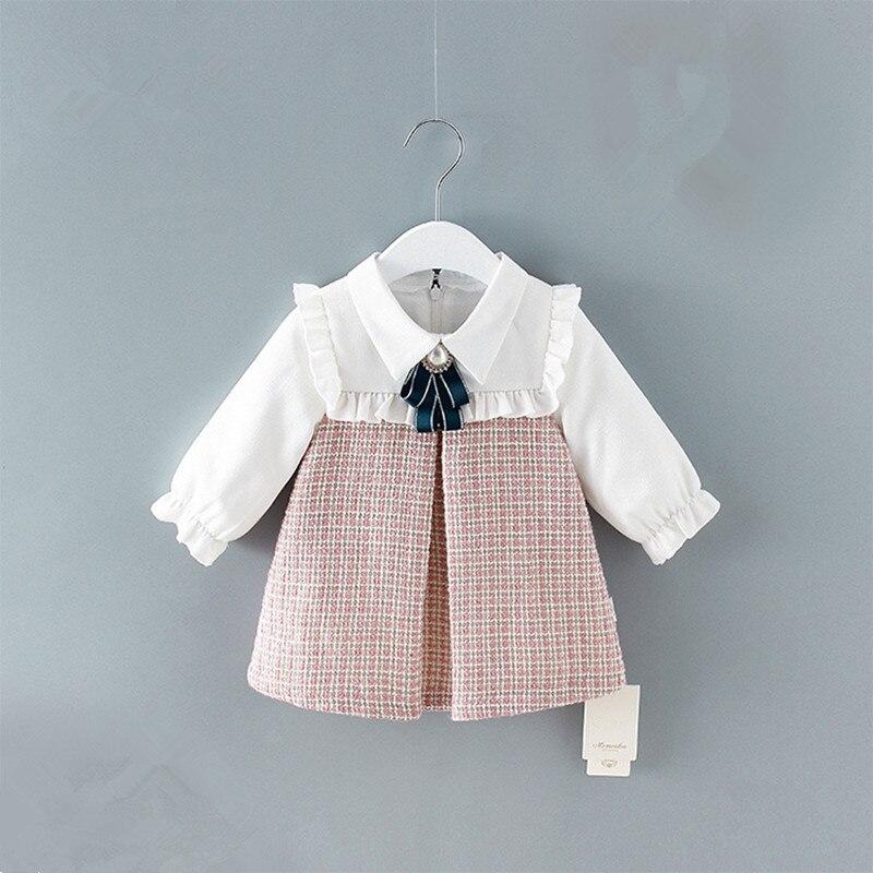 Cute Newborn Infant Toddler Baby Girls Dress A-line Lantern Sleeve Kids Dress Plaid Clothes 0-2Y